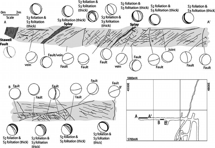 Structural map and sections from the 7 212 mRL crosscut