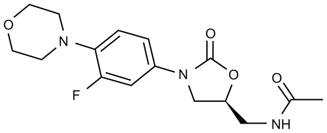 Chemical structure of linezolid. Its molecular weight is