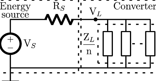 Thevenin electrical equivalent circuit for energy sources