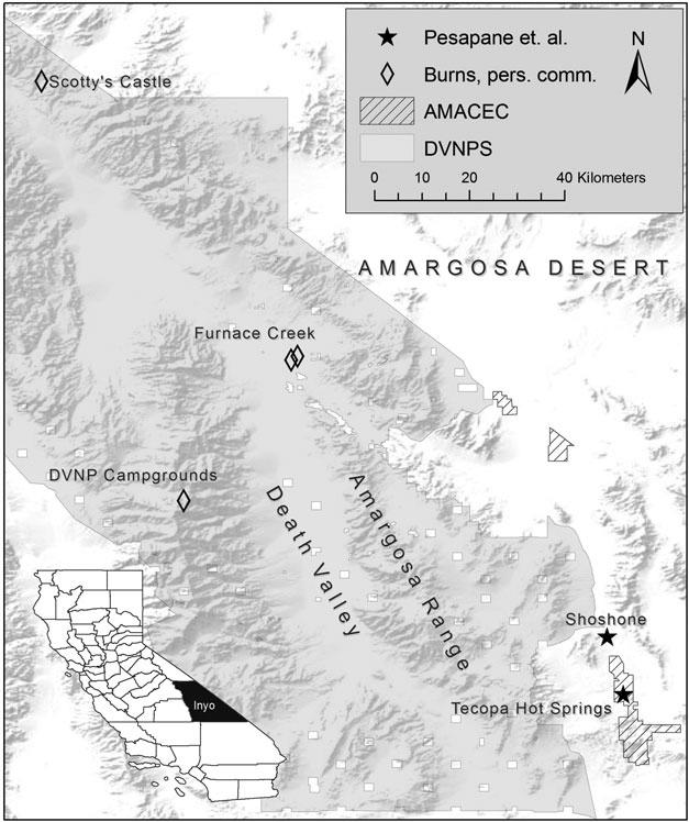 Hantavirus sampling sites in the Amargosa valley and Death Valley ...