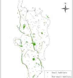 distributions of snail habitats and the validation points the regions depicted as green are the [ 850 x 1062 Pixel ]