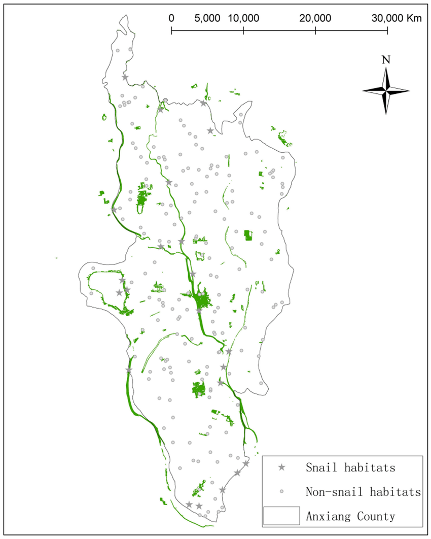 hight resolution of distributions of snail habitats and the validation points the regions depicted as green are the