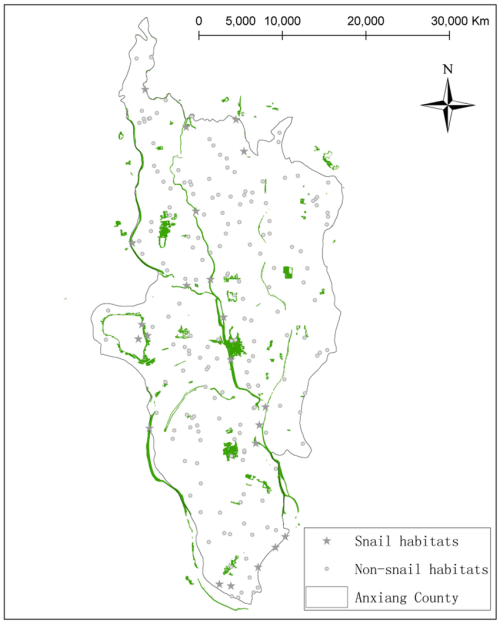 small resolution of distributions of snail habitats and the validation points the regions depicted as green are the