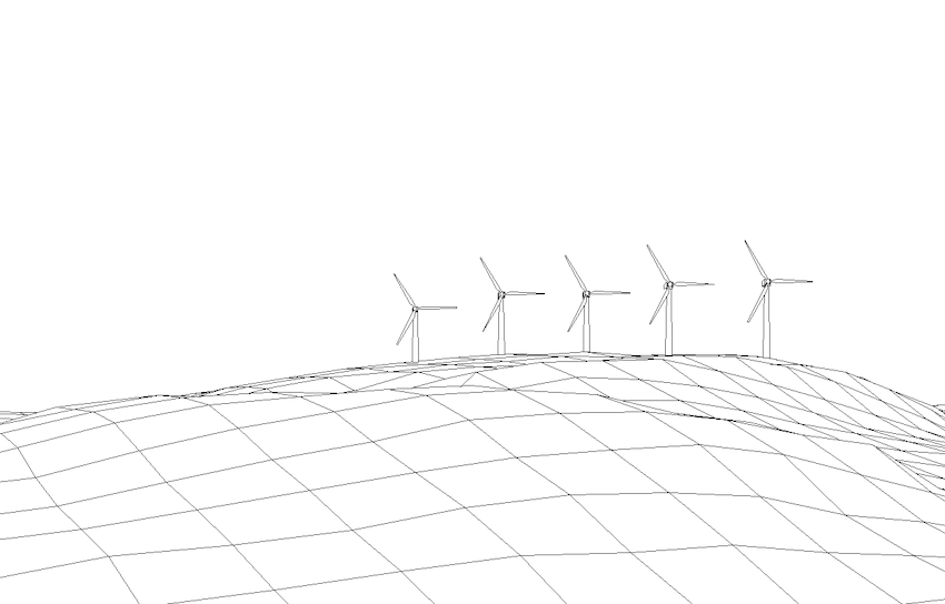 Wireframe diagram of wind farm shown in Figure 1