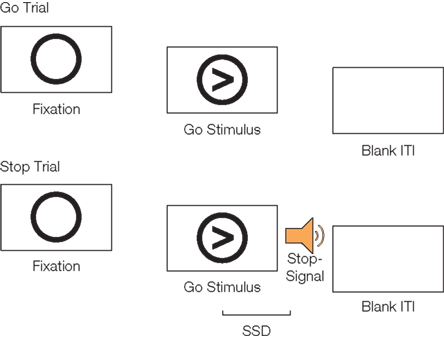 Schematic of go trials and stop trials on the stop-signal
