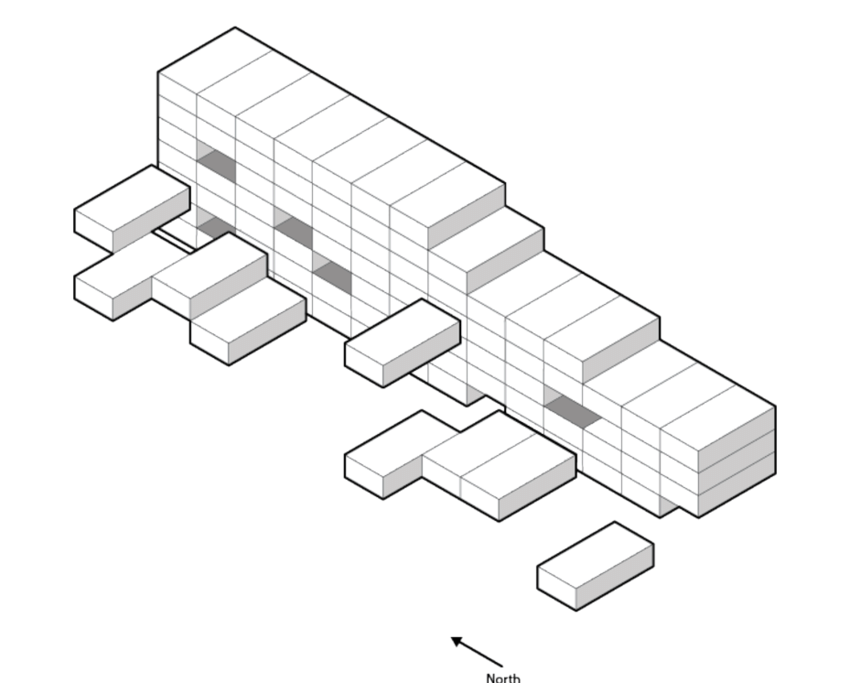 Diagram showing distribution of units within apartment