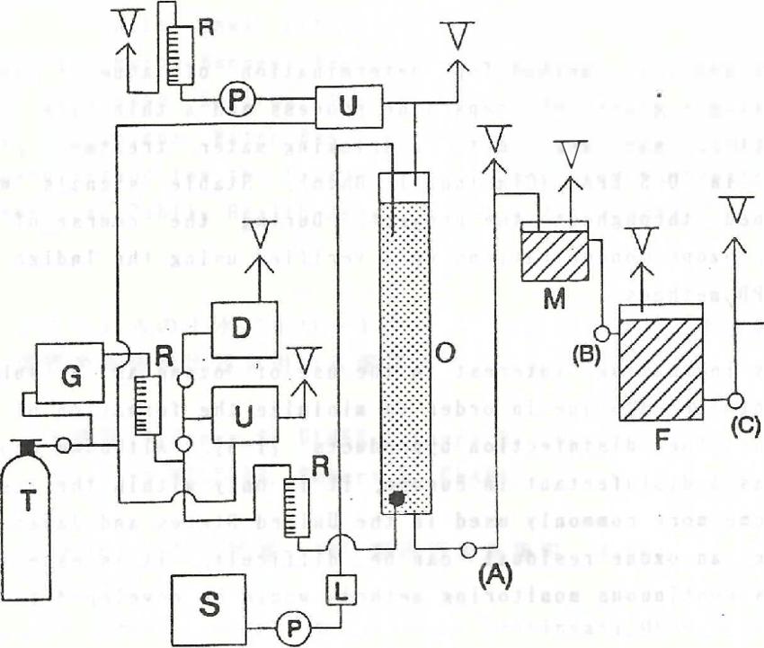 Schematic diagram of water treatment pilot plant T: oxygen