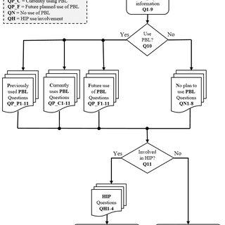 Flowchart of survey questions step logic design
