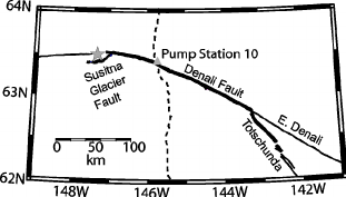 Location of the Denali Fault earthquake rupture (bold line