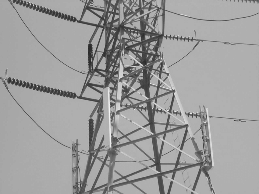 High-voltage transmission line tower with panel type