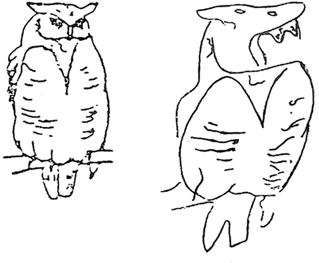 The drawing on the right is the copy made by John, the