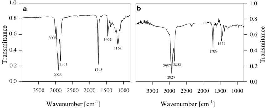 IR spectra of (a) rapeseed oil and (b) liquid fractions