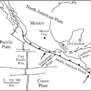 Location map of El Chichón Volcano, Chiapas, Mexico, and
