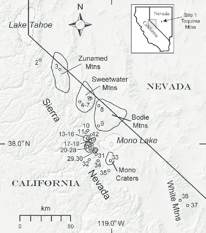 Map of the study region, with monitoring locations and
