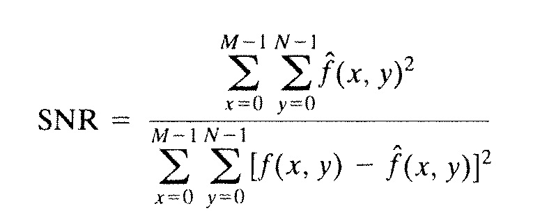 How is SNR calculated in images?