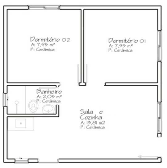 Modelo volumétrico e planta baixa da edificação