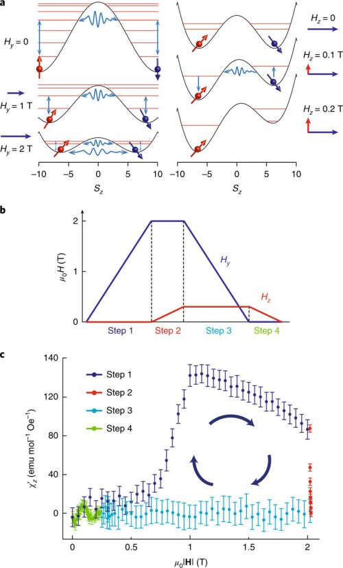small resolution of susceptibility of the quantum mm during the landauer erasure a magnetic energy of an fe8