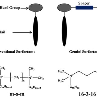 Structural schematic of conventional surfactants & gemini