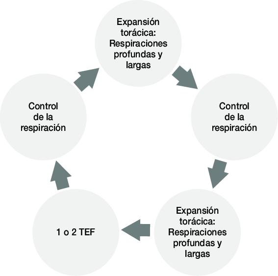 Esquema de realización de ciclo activo respiratorio