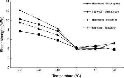 Effect of wood temperature on shear strength of black