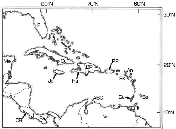 Outline map of Caribbean region, labelling all islands and