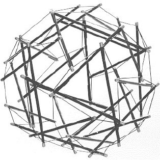 """Tensegrity model: """"Islands of compression in a sea of"""