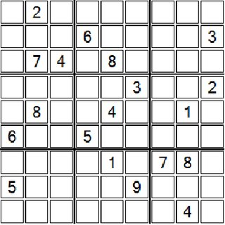 Very easy difficulty Sudoku board used for testing (36