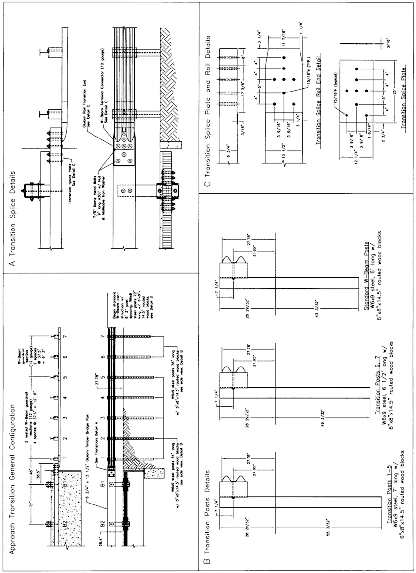 Approach guardrail transition design details, System 2 (1