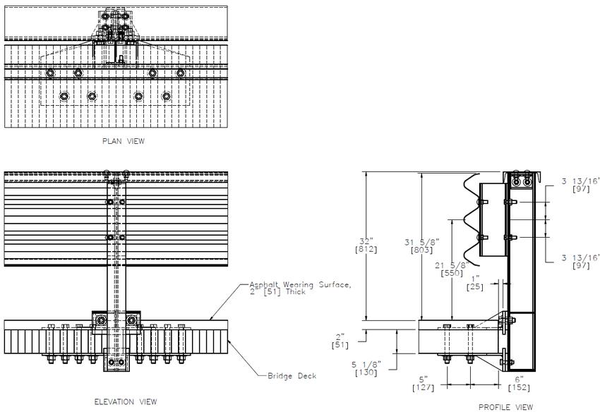 Post connection to the transverse nail-laminated bridge