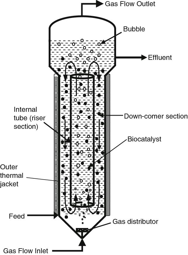 4 Gas-lift bioreactor internal loop configuration with an
