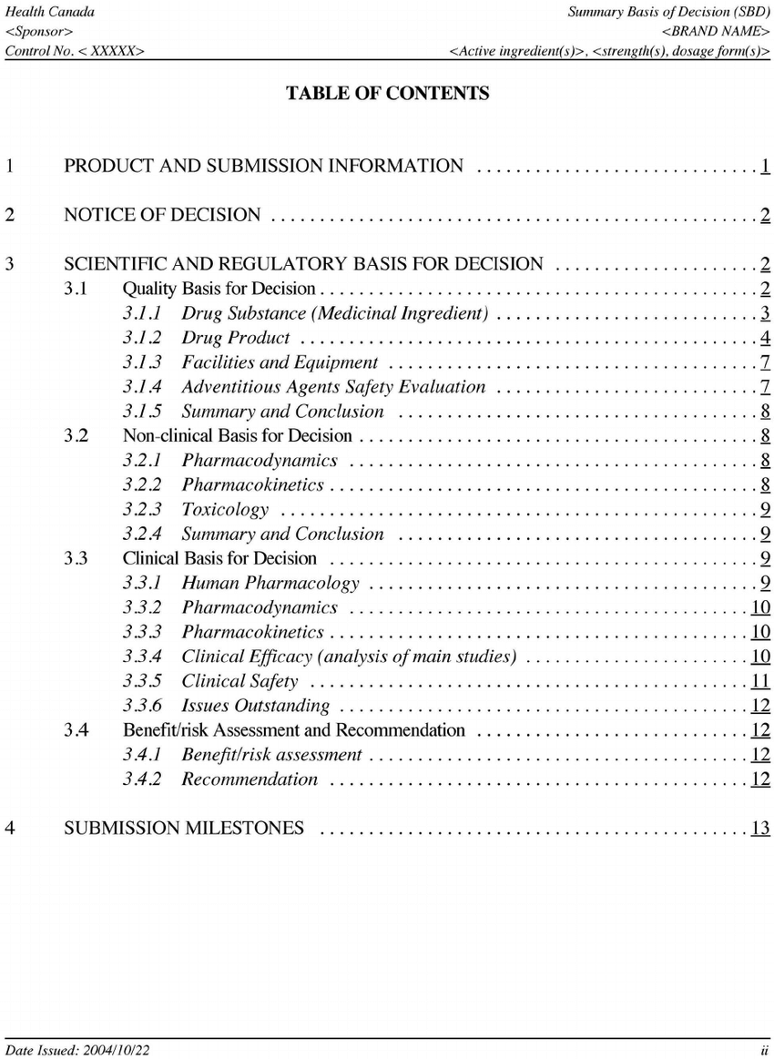 Example Of Table Of Contents In A Summary Basis Of