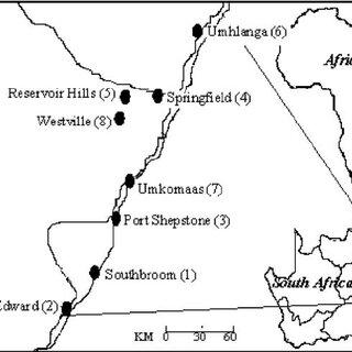 Map of eight chosen market sites in KwaZulu-Natal, South