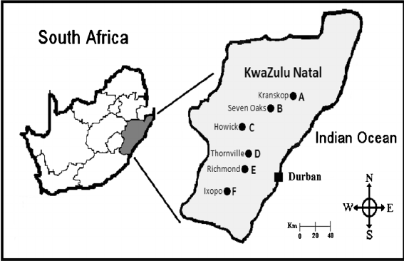 Map showing selected sampling sites in KwaZulu-Natal