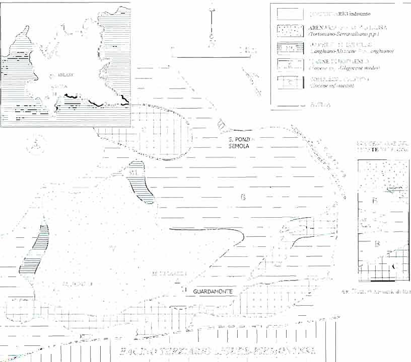 carta geologica schematica dell'area nella provincia di