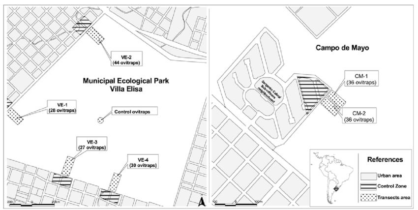 Experimental zones. Representative scheme of CM and VE