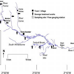 Schematic map of Frome Catchment showing monitoring points