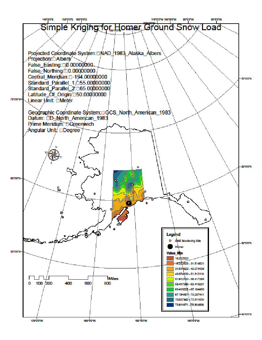 hight resolution of ground snow load estimation near homer ak