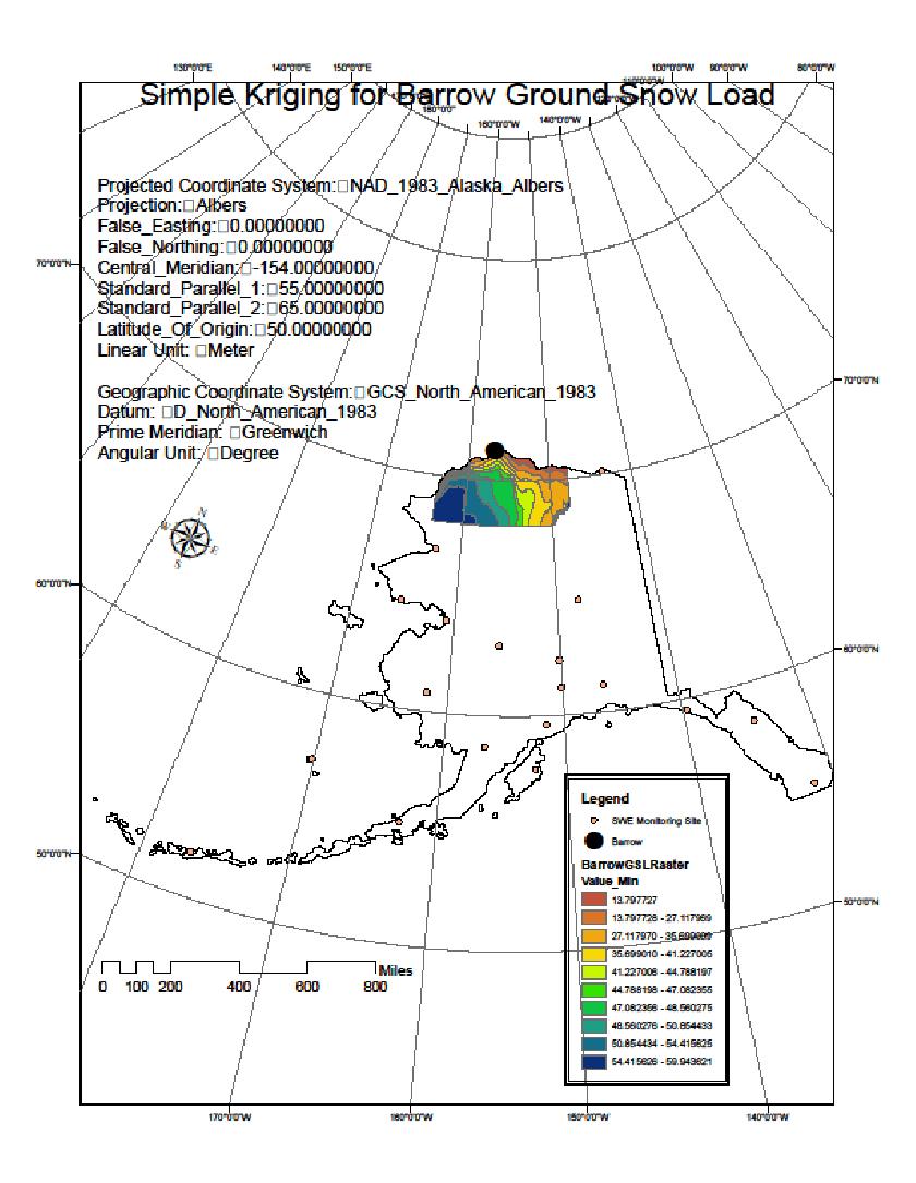 hight resolution of ground snow load estimation near barrow ak