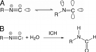 Isocyanide resonance structures and reaction scheme for
