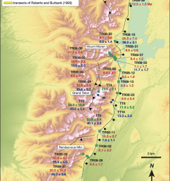 digital elevation model of the teton range with sample locations for apatite u th  [ 850 x 1101 Pixel ]