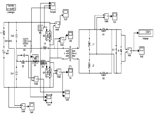 a: Simulink Circuit of a Proposed DCS Controlled ZVS HB dc