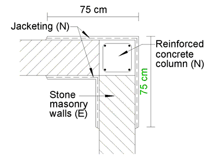12 Detail of a reinforced concrete column added to