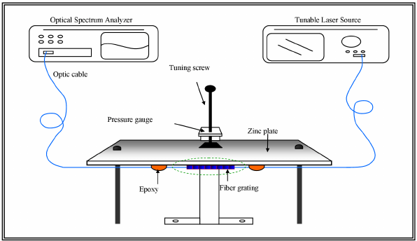 A schematic of the experimental setup for the FBG sensor