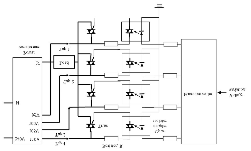 Diagram of the connection of the opto-coupler isolator and