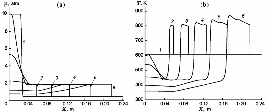 Calculated profiles of pressure (a) and temperature (b) in