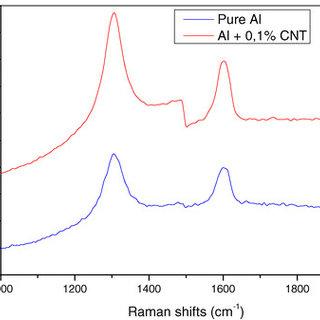 Raman spectrum of nanocomposite Al + 0.1% CNT and pure