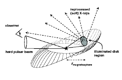 Schematic of disk reprocessing in X-ray pulsars. The hard
