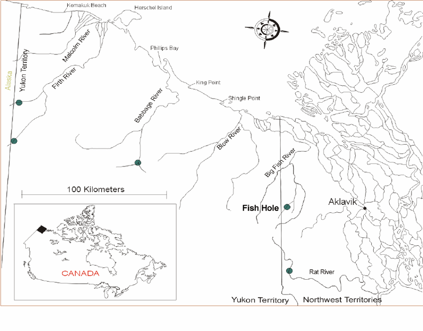 Map of the Yukon North Slope showing the location of the