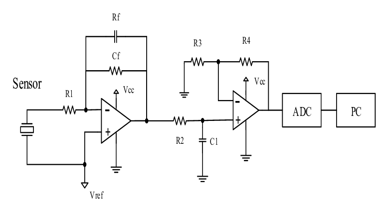 Schematic of signal conditioning circuit for piezoelectric