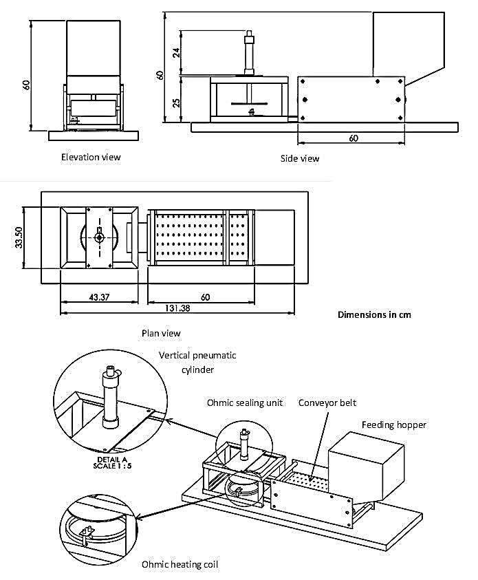 Schematic drawings of the mechanical part of the packaging